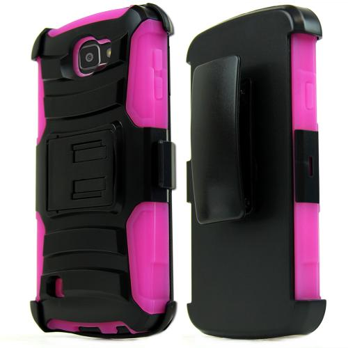 [LG Optimus Zone 3] Case, REDshield [Hot Pink] Heavy Duty Dual Layer Hybrid Holster Case with Kickstand and Locking Belt Swivel Clip