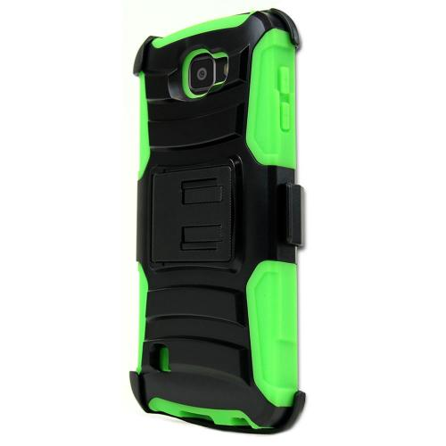 [LG Optimus Zone 3] Case, REDshield [Neon Green] Heavy Duty Dual Layer Hybrid Holster Case with Kickstand and Locking Belt Swivel Clip