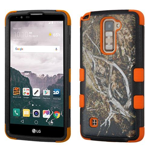 [LG Stylo 2 Plus] Case, TUFF Hybrid Dual Layer Hard Case on Silicone Skin [Tree Branches on Black & Orange]