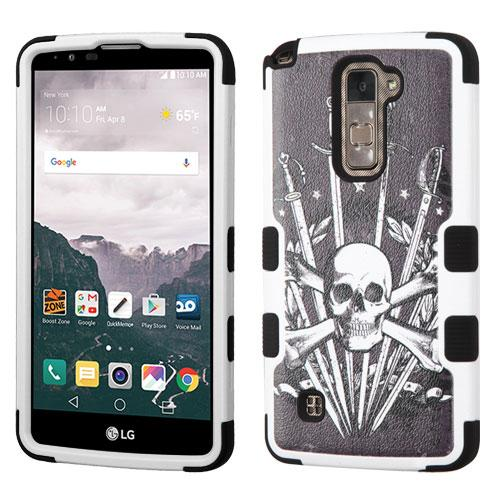 [LG Stylo 2 Plus] Case, TUFF Hybrid Dual Layer Hard Case on Silicone Skin [Skulls & Swords]