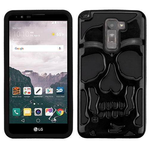 [LG Stylo 2 Plus] Case, Skull Hybrid Dual Layer Hard Case on Silicone Skin [Black]