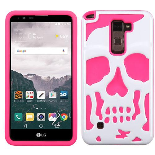 [LG Stylo 2 Plus] Case, Skull Hybrid Dual Layer Hard Case on Silicone Skin [White on Hot Pink]