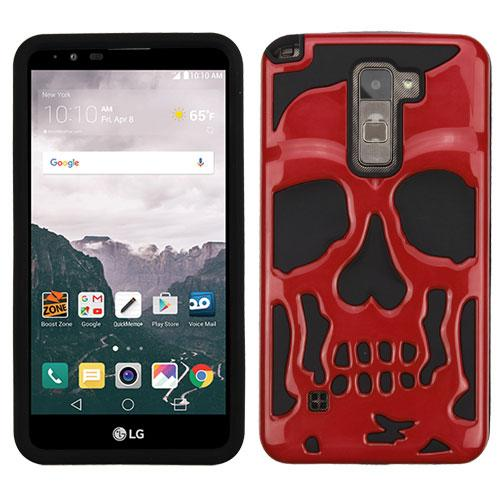 [LG Stylo 2 Plus] Case, Skull Hybrid Dual Layer Hard Case on Silicone Skin [Red]