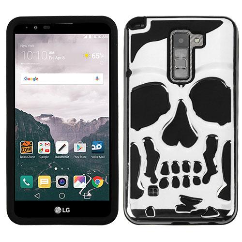 [LG Stylo 2 Plus] Case, Skull Hybrid Dual Layer Hard Case on Silicone Skin [Silver]