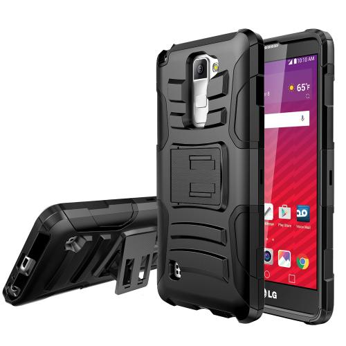 [LG Stylo 2] Holster Case, REDshield [Black] Supreme Protection Hard Plastic on Silicone Skin Dual Layer Hybrid Case