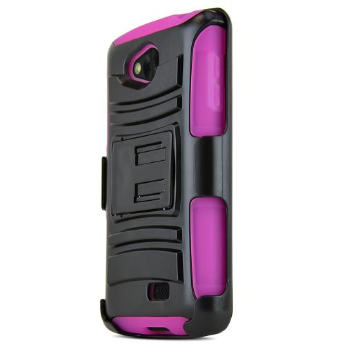Lg Transpyre / Tribute Hybrid Case [black] Heavy Duty W/ Kickstand On Hot Pink Silicone Skin Case W/ Holster