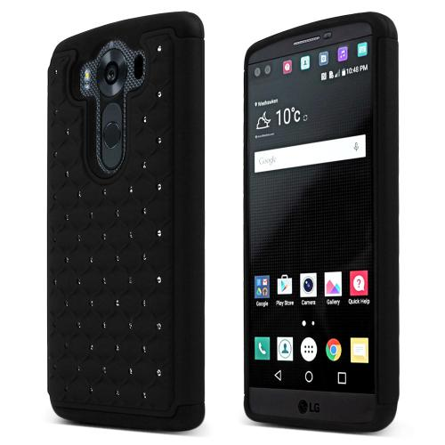 LG V10 Case, [Black] BLING Supreme Protection Plastic on Silicone Dual Layer Hybrid Case