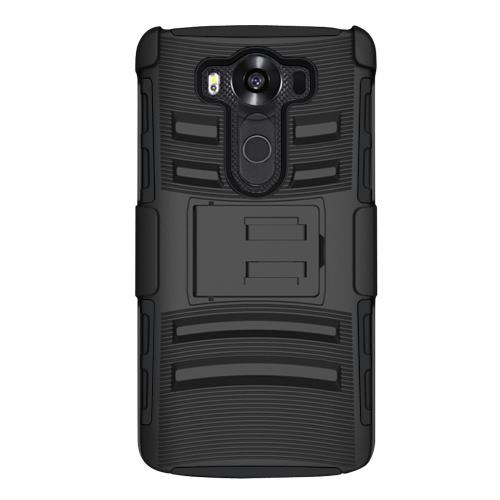 LG V10 Case,  [Black]  Heavy Duty Dual Layer Hybrid Holster Case with Kickstand and Locking Belt Swivel Clip