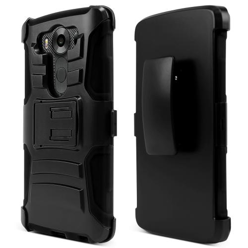 LG V10 Holster Case, [Black] Supreme Protection Plastic on Silicone Dual Layer Hybrid Case