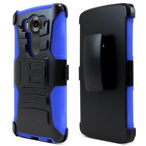 LG V10 Holster Case, [Blue] Supreme Protection Plastic on Silicone Dual Layer Hybrid Case