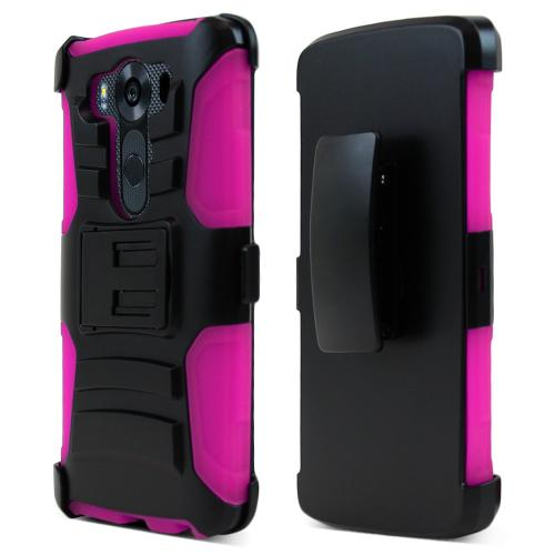 LG V10 Holster Case, [Hot Pink] Supreme Protection Plastic on Silicone Dual Layer Hybrid Case