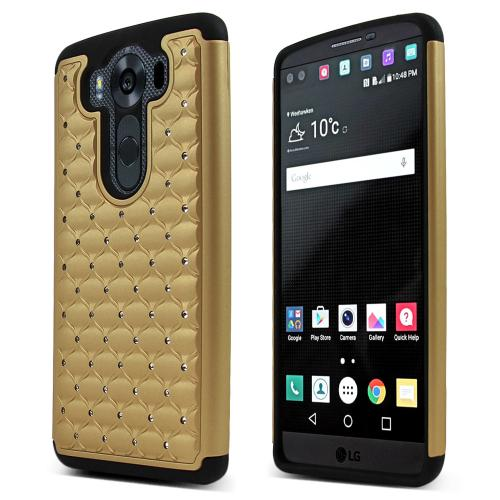 LG V10 Case, [Gold/ Black] BLING Supreme Protection Plastic on Silicone Dual Layer Hybrid Case