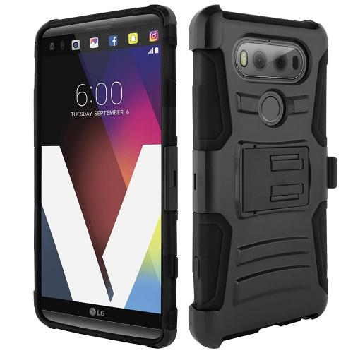 [LG V20] Holster Case, REDshield [Black] Supreme Protection Hard Plastic on Silicone Skin Dual Layer Hybrid Case