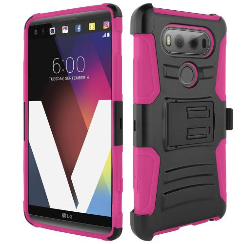 [LG V20] Holster Case, REDshield [Hot Pink] Supreme Protection Hard Plastic on Silicone Skin Dual Layer Hybrid Case