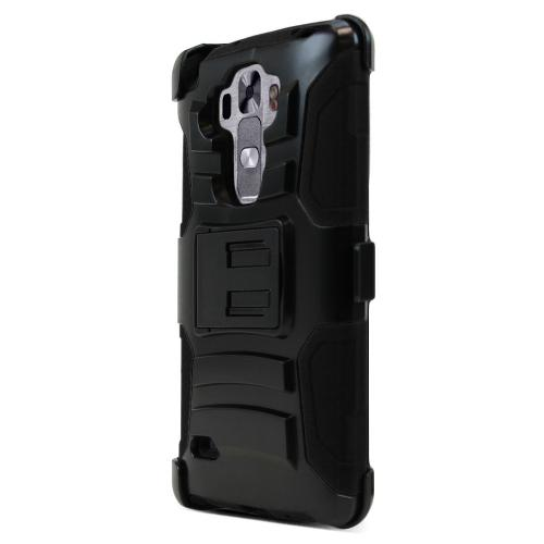 LG G Vista 2 Holster Case, [Black] Supreme Protection Plastic on Silicone Dual Layer Hybrid Case