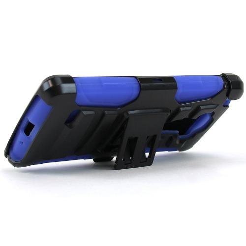 LG G Vista 2 Holster Case, [Blue] Supreme Protection Plastic on Silicone Dual Layer Hybrid Case