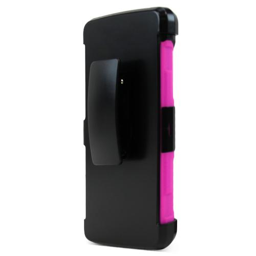 LG G Vista 2 Holster Case, [Hot Pink] Supreme Protection Plastic on Silicone Dual Layer Hybrid Case