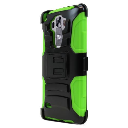LG G Vista 2 Holster Case, [Neon Green] Supreme Protection Plastic on Silicone Dual Layer Hybrid Case