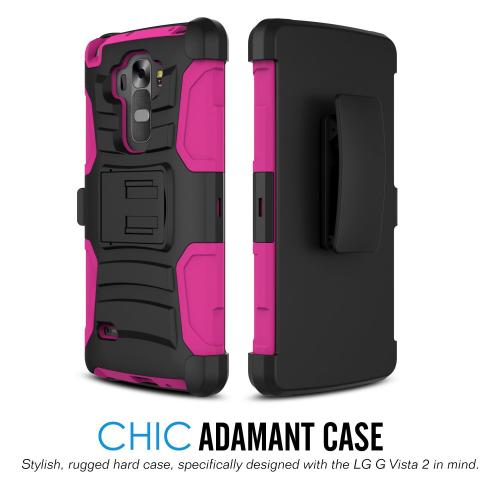 LG G Vista Holster Case, REDshield [Hot Pink] Dual Layer Hard Case w/ Kickstand Silicone Skin Case; Includes Holster w/ Swivel Belt Clip