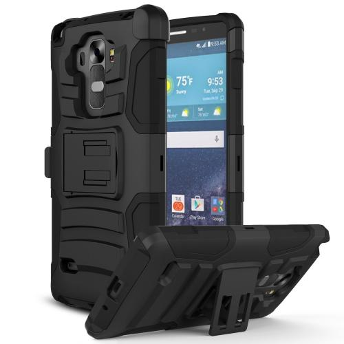 Black LG G Vista Dual Layer Hard Case w/ Kickstand on Black Silicone Skin Case; Includes Holster w/ Swivel Belt Clip