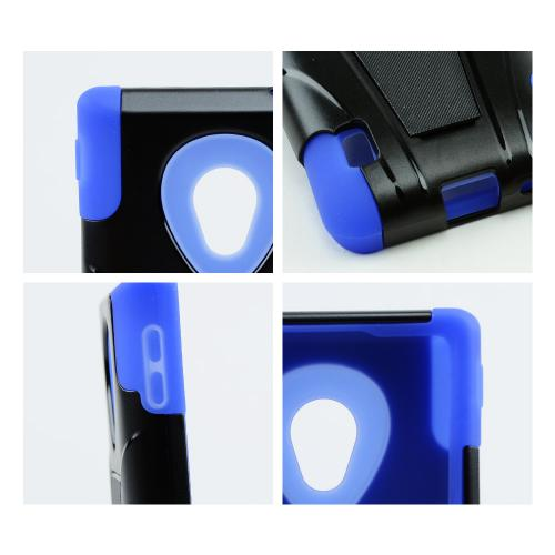 Black Hard Cover w/ Kickstand on Blue Silicone Skin Case for LG Lucid 2