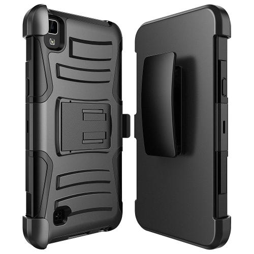 [LG X Power] Holster Case, REDshield [Black] Supreme Protection Hard Plastic on Silicone Skin Dual Layer Hybrid Case