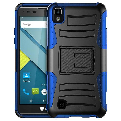 [LG X Power] Holster Case, REDshield [Blue] Supreme Protection Hard Plastic on Silicone Skin Dual Layer Hybrid Case