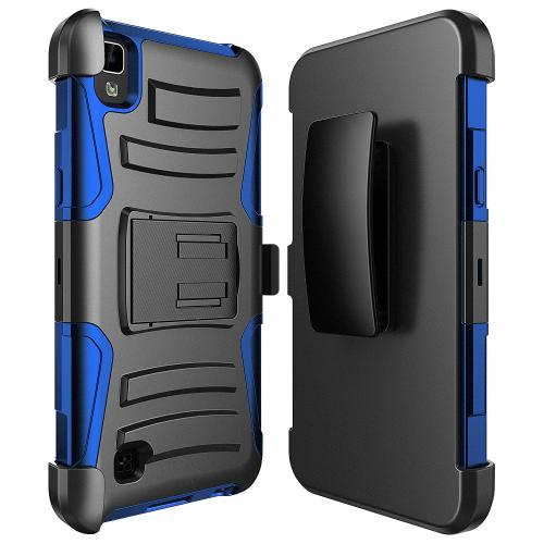 LG X Power Holster Case, REDshield [Blue] Supreme Protection Hard Plastic on Silicone Skin Dual Layer Hybrid Case