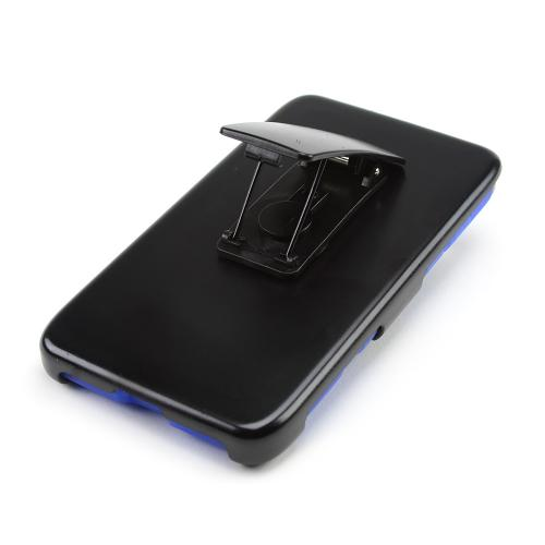 Black Hard Case w/ Kickstand on Blue Silicone Skin Case w/ Swivel Clip Holster for Motorola Droid MAXX