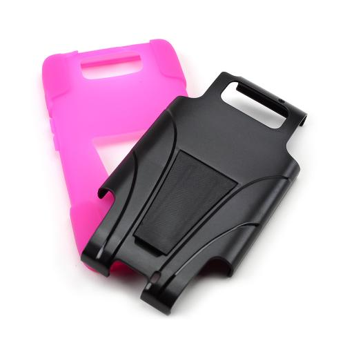 Black Hard Case w/ Kickstand Over Hot Pink Silicone Skin Case for Motorola Droid Ultra