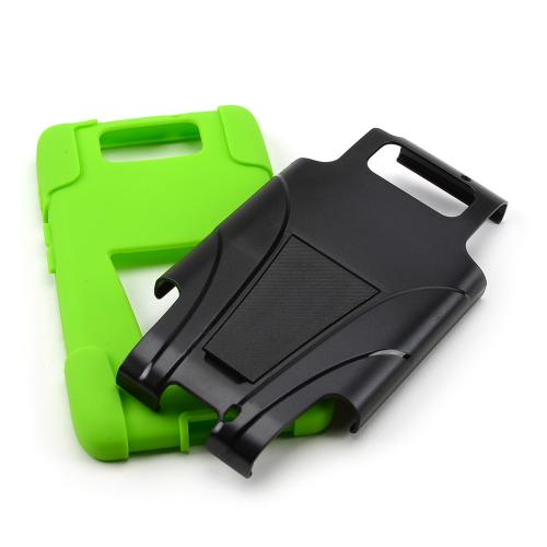 Black Hard Case w/ Kickstand Over Neon Green Silicone Skin Case for Motorola Droid Ultra