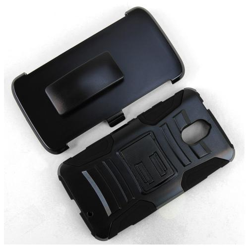 [Motorola Droid Turbo 2] Holster Case, [Black] Supreme Protection Plastic on Silicone Dual Layer Hybrid Case