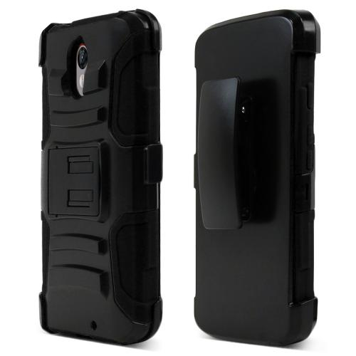 Motorola Droid Turbo 2 Holster Case, [Black] Supreme Protection Plastic on Silicone Dual Layer Hybrid Case