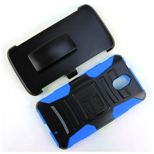 [Motorola Droid Turbo 2] Holster Case, [Blue] Supreme Protection Plastic on Silicone Dual Layer Hybrid Case