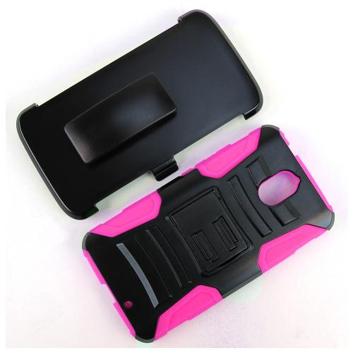 [Motorola Droid Turbo 2] Holster Case, [Hot Pink] Supreme Protection Plastic on Silicone Dual Layer Hybrid Case