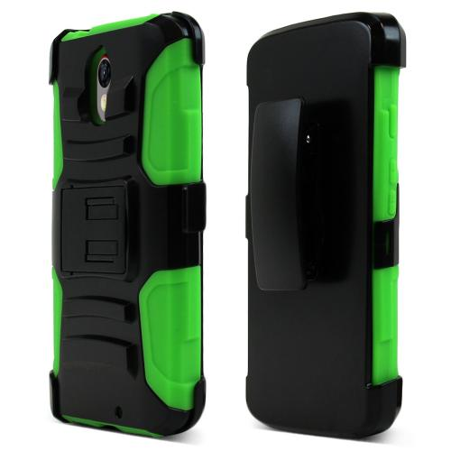[Motorola Droid Turbo 2] Holster Case, [Neon Green] Supreme Protection Plastic on Silicone Dual Layer Hybrid Case