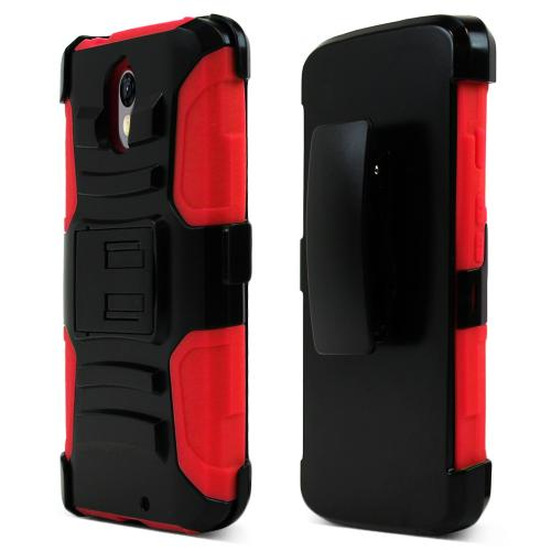 [Motorola Droid Turbo 2] Holster Case, [Red] Supreme Protection Plastic on Silicone Dual Layer Hybrid Case
