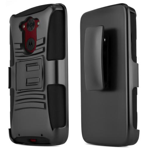 Motorola Droid Turbo Hybrid Case [black] Heavy Duty W/ Kickstand On Black Silicone Skin Case W/ Holster [Fitting Motorola Droid Turbo Case]
