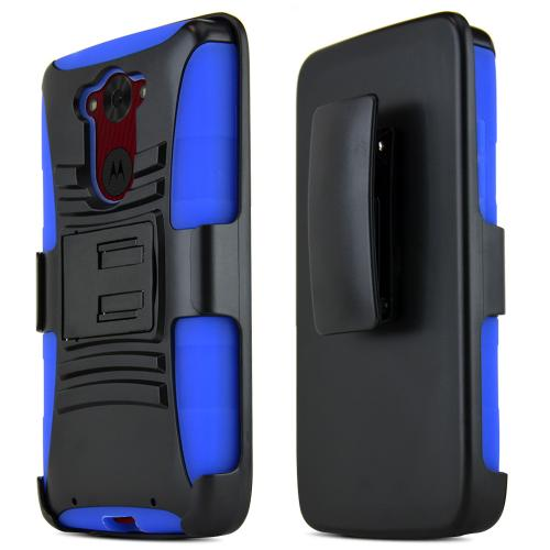 Motorola Droid Turbo Hybrid Case [black] Heavy Duty W/ Kickstand On Blue Silicone Skin Case W/ Holster [Fitting Motorola Droid Turbo Case]