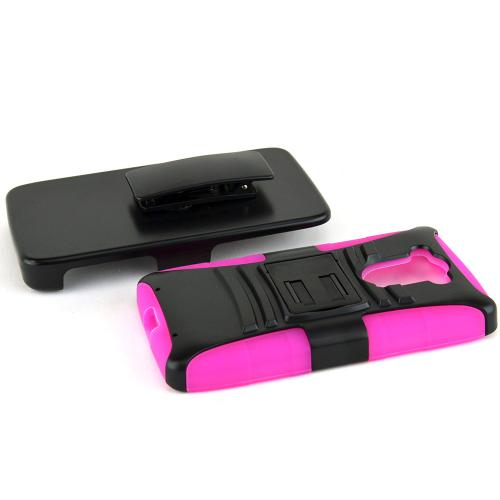 Motorola Droid Turbo Hybrid Case [black] Heavy Duty W/ Kickstand On Hot Pink Silicone Skin Case W/ Holster