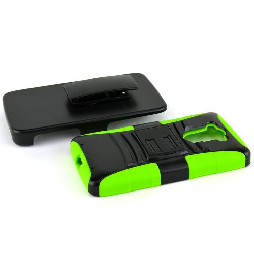 Motorola Droid Turbo Hybrid Case [black] Heavy Duty W/ Kickstand On Neon Green Silicone Skin Case W/ Holster