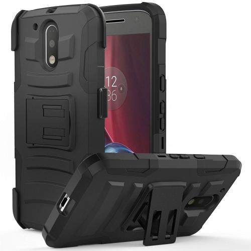 [Motorola Moto G4/ Moto G4 Plus] Holster Case,  REDshield [Black] Supreme Protection Hard Plastic on Silicone Skin Dual Layer Hybrid Case