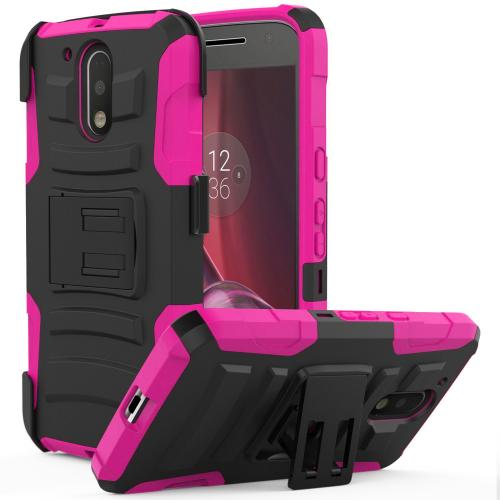 [Motorola Moto G4/ Moto G4 Plus] Holster Case, REDshield [Hot Pink] Supreme Protection Hard Plastic on Silicone Skin Dual Layer Hybrid Case