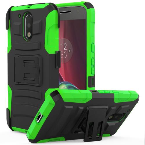 Motorola Moto G4/ Moto G4 Plus Holster Case,  REDshield [Neon Green] Supreme Protection Hard Plastic on Silicone Skin Dual Layer Hybrid Case