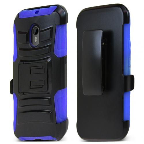 Motorola Moto G 2015 Holster Case, [Blue] Supreme Protection Plastic on Silicone Dual Layer Hybrid Case