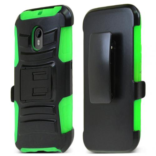 Motorola Moto G 2015 Holster Case, [Neon Green] Supreme Protection Plastic on Silicone Dual Layer Hybrid Case