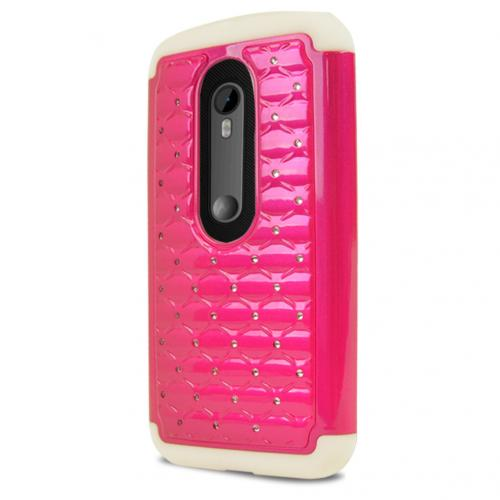 Motorola Moto G 2015 Case, [Hot Pink/ White Bling] Supreme Protection Plastic on Silicone Dual Layer Hybrid Case