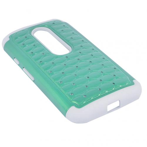 Motorola Moto G 2015 Case, [Mint/ Black Bling] Supreme Protection Plastic on Silicone Dual Layer Hybrid Case