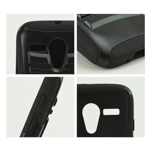 Black Hard Case w/ Kickstand on Black Silicone Skin Case w/ Holster for Motorola Moto G