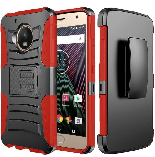 Motorola Moto G5 Plus Case, Dual Layer Hard Case w/ Kickstand on [Red] Silicone Skin Case w/ Holster